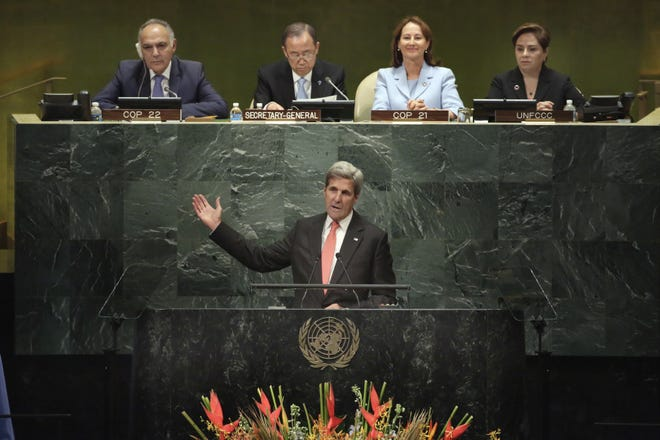 United States Secretary of State John Kerry addresses the meeting of the United Nations General Assembly about the Paris Agreement on climate change on Sept. 21, 2016.