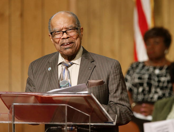 Ulysses J. Johnson III is shown speaking in 2015 at Christ Community Christian Center in Lakeland. Johnson, a longtime educator in Polk County, recently died at age 91.
