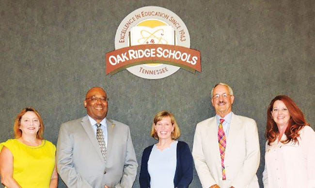 The Oak Ridge Board of Education: Angi Agle, from left, Ben Stephens, Laura McLean, Keys Fillauer and Erin Webb.
