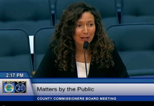 "Julie Hamilton, one of two plaintiffs who sued the county and Boca Raton over their bans on conversion therapy, speaks at the July 12, 2016, Palm Beach County Commission meeting to oppose a ban on ""conversion therapy."""