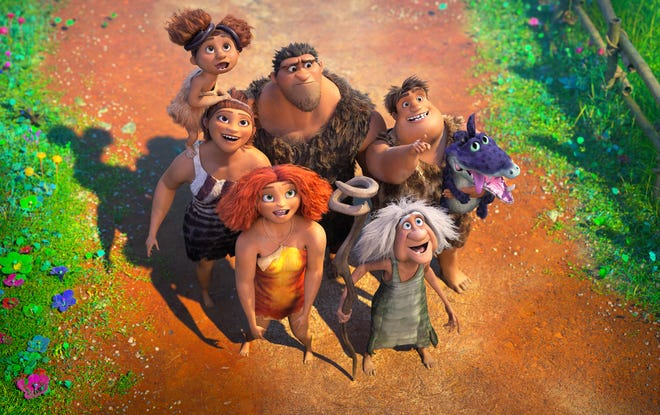 "Clockwise, from top left, the Crood clan is made up of Sandy Crood (voiced by Kailey Crawford), Grug Crood (Nicolas Cage), Thunk Crood (Clark Duke), Gran (Cloris Leachman), Eep Crood (Emma Stone) and Ugga Crood (Catherine Keener) in ""The Croods: A New Age."""