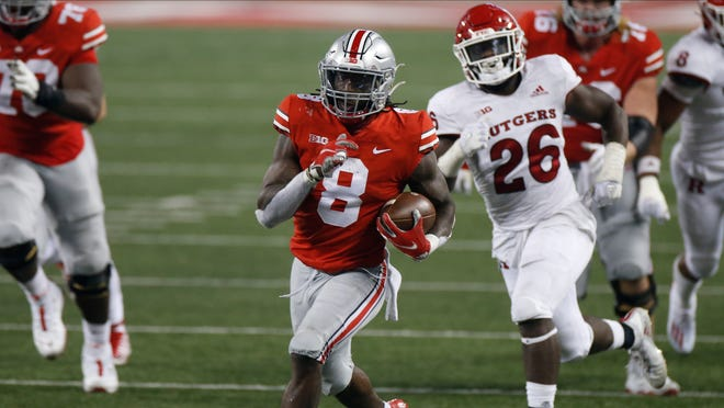 Ohio State running back Trey Sermon (8) leads the third-ranked Buckeyes against No. 9 Indiana on Saturday.