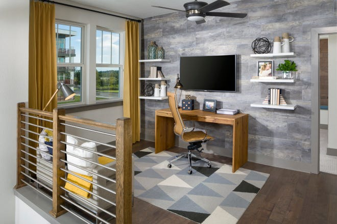 Office loft space in the Woodsmoke model by David Weekley Homes. The builder will start work in late 2021 on a new townhome community in the Kettering neighborhood at eTown.