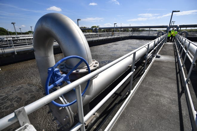 Wastewater undergoes biological treatment in large tanks at Sarasota County's Bee Ridge Water Reclamation Facility. One of the first steps in wastewater treatment occurs in these tanks where desirable bacteria is added to sewage to consume waste and organic materials.  The facility is in the process of upgrading to advanced wastewater treatment standards with a daily capacity of 18 million gallons.