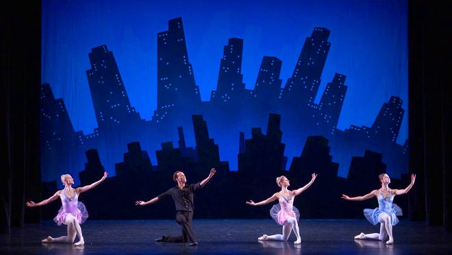 """Sarasota Ballet dancers Lauren Ostrander, Ricardo Rhodes, Kate Honea and Janae Kortae in the finale of George Balanchine's """"Who Cares?"""" the choregrapher's love letter to Broadway and New York City."""