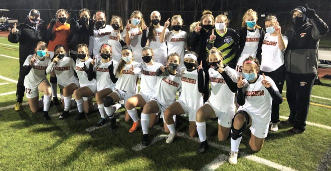 The Middleboro High School girls soccer team won a first-ever South Shore League championship Thursday night with a 3-2 overtime win over East Bridgewater.