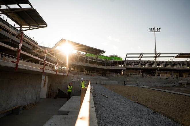 A view of the dugout during ongoing construction at Polar Park in Worcester.