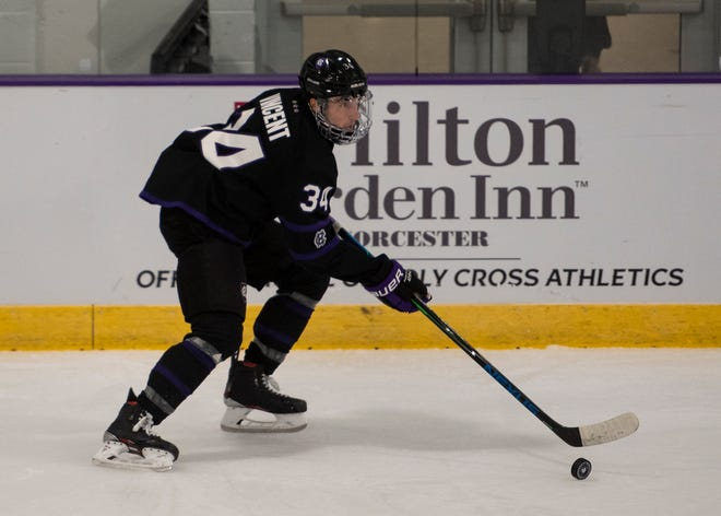 Anthony Vincent, shown skating in Friday's opener, scored twice to help Holy Cross past Long Island University on Sunday.