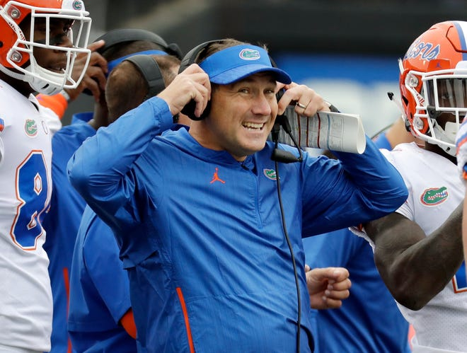 Florida coach Dan Mullen watches from the sideline in the first half against Vanderbilt in Nashville, Tenn. , in the 2018 game.