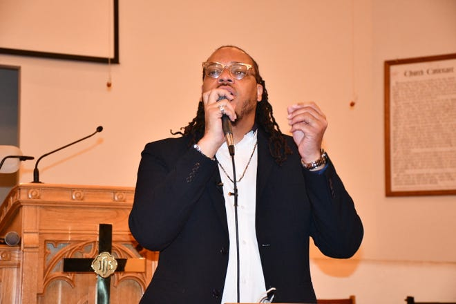 Rev. Gregory Drumwright addressed on Thursday during a community meeting the felony charges recently lodged against him and announced an upcoming march for Nov. 28. The time and location had not yet been determined on Thursday.