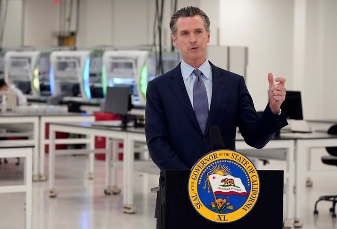 In this Oct. 30, 2020, file photo, California Gov. Gavin Newsom speaks at a COVID-19 testing facility in Valencia. San Bernardino County's lawsuit against the governor over his stay-at-home orders failed to be reviewed in the state's Supreme Court on Jan. 13, 2021.