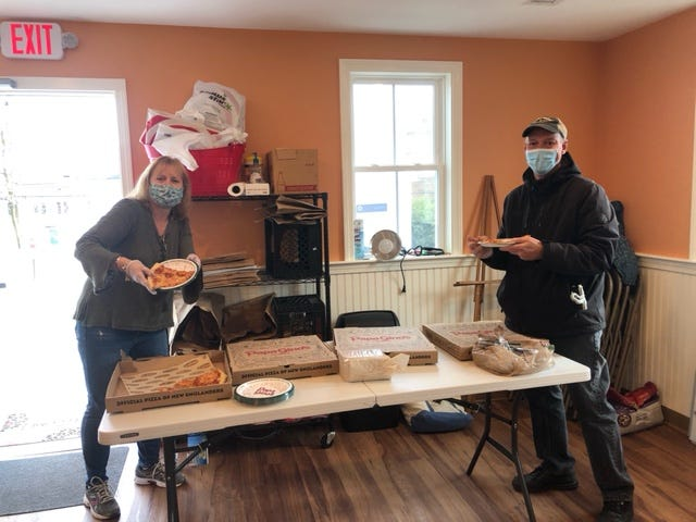 Over the course of 10 weeks, Papa Gino's and D'Angelo Grilled Sandwiches donated 480 extra-large pizzas and 1,500 sandwiches to 80 health care facilities across New England, including the North Reading Food Pantry, through their respective community donation programs.