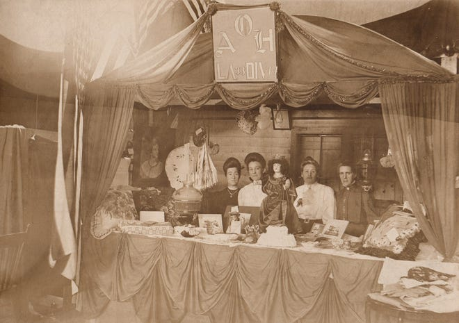 An undated photo of a display by the Ladies Ancient Order of Hibernians.