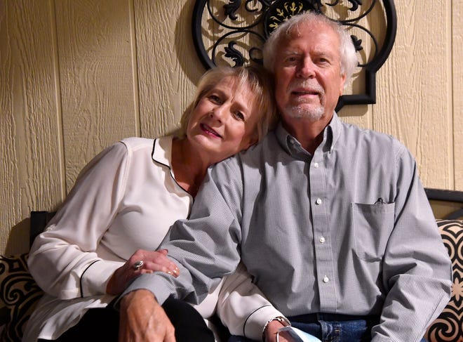 Mike and Debi Schultz at their home Nov. 19. Mike spent seven days at Hendrick Medical Center fighting COVID-19.