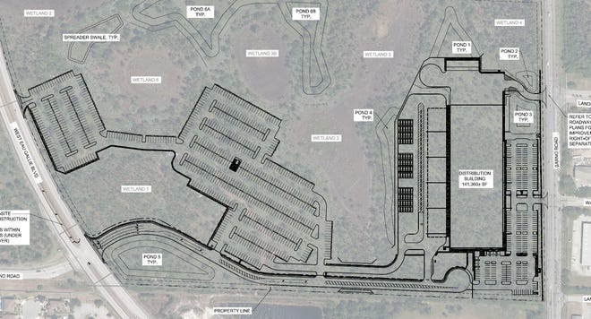 This site plan shows an Amazon-linked developer's plan for a distribution center between West Eau Gallie Boulevard and Sarno Road in Melbourne (north is to the left side of the map.)
