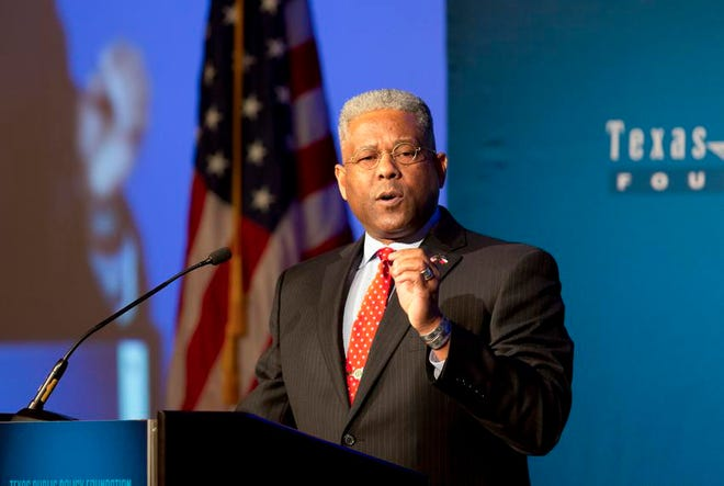 Allen West speaks at a Texas Public Policy Foundation event in 2018.