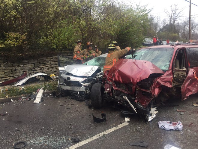 Cincinnati firefighters responded to a multiple-vehicle crash Friday afternoon in the 4400-block of Colerain Avenue. Firefighters said they were working to free a second person from the vehicles.