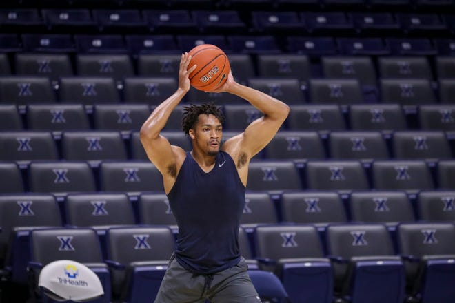 Transfer Ben Stanley practices at Xavier University's Cintas Center in preparation for the 2020-21 season. Stanley, who transferred to Xavier from Hampton University, was denied a waiver by the NCAA to be immediately eligible for the upcoming season.