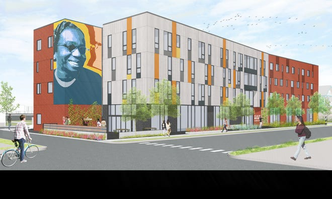 A rendering of the Ruth Ellis Clairmount Center, slated to open 2022, which will offer permanent supportive housing, a health clinic and community space for LGBTQ youth in Detroit.
