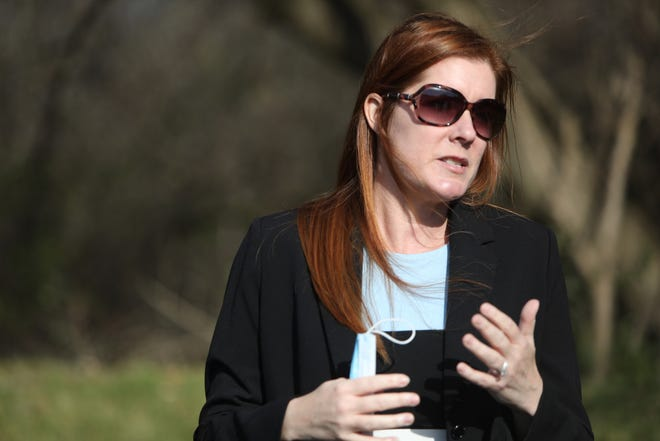 Wayne County Board of Canvassers Chairwoman Monica Palmer speaks outside of her attorney Michael Schwartz's Farmington Hills office Friday, Nov. 20, 2020 during a press conference.