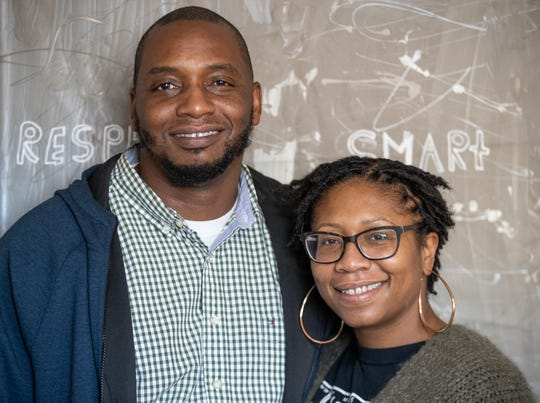 Trey and Kia Wright of the Voices community outreach for youth, 1415 Shelby St, Indianapolis, Ind., Thursday Nov. 20, 2020.