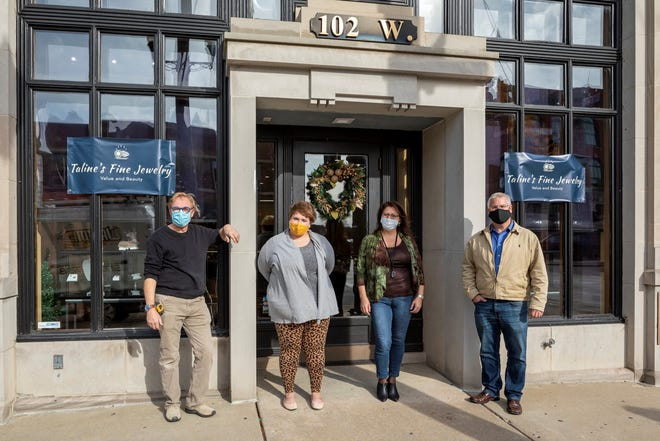 From left, Jeff Doyle, Bree Boswell, Taline Shiklanian and Geof Greeneisen stand outside the former Yax Jewelers building in Howell, Thursday, Nov. 19, 2020.
