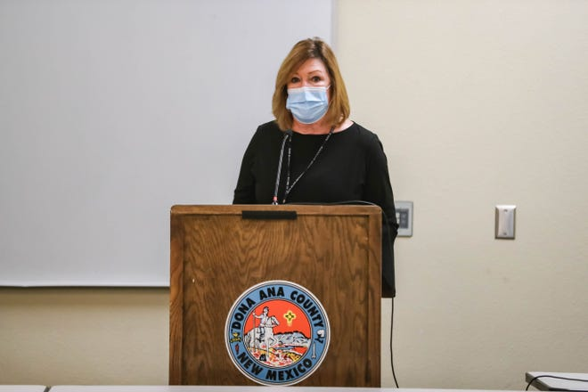 Catherine Zaharko speaks at a meeting as the county begins distributing small business grant money at the Doña Ana County Government Center in Las Cruces on Friday, Nov. 20, 2020.