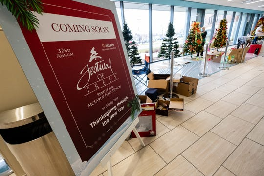 This year's Festival of Trees will be held in McLaren's South Tower. The hospital has a partially closed campus due to the COVID-19 pandemic, but the community is invited to drive by or walk past the windows to see them.