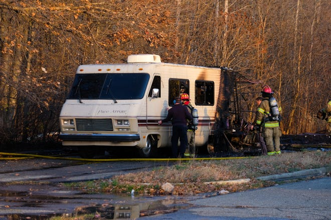 Port Huron Township Fire Department responded to a report of an RV fully engulfed in flames near the former Kmart on Nov. 20, 2020.