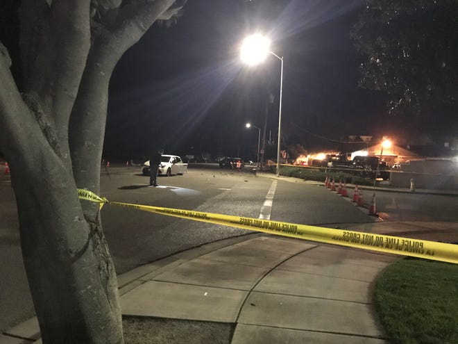Police investigate a crash at Gino's in Salinas on Thursday, Nov. 19, 2020.
