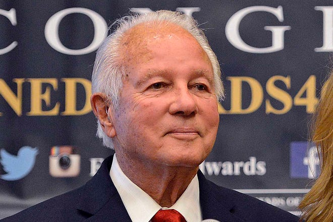 In this Nov. 4, 2014, file photo, former Louisiana Gov. Edwin Edwards addresses the crowd during an election watch party in Baton Rouge, La. Edwards has been hospitalized with pneumonia, only days after he was released from a prior stay for breathing problems. The four-term Democratic former governor's wife, Trina Edwards, posted about the latest hospitalization Wednesday, Nov. 18, 2020 on Facebook.