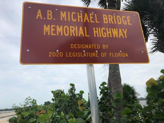 The new A.B. Michael Bridge Memorial Highway sign sits along CR 510 i Wabasso.