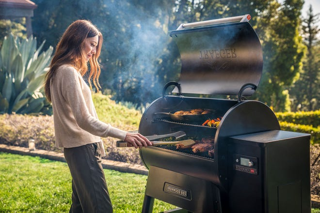 Outdoor appliances, like Traeger's wood pellet grills also work with an app, so you can turn on the grill, monitor it's temperature, and also the temp of your food, too.