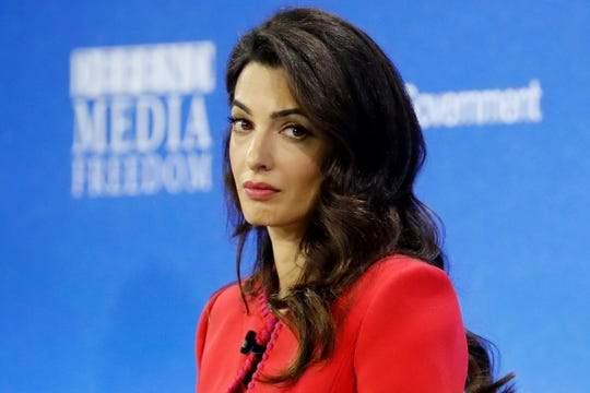 Amal Clooney received theGwen IfillPress Freedom Award Thursday from the Committee to Protect Journalists.