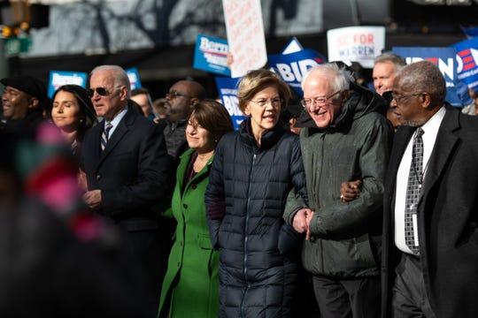Sens. Bernie Sanders, Elizabeth Warren and Amy Klobuchar with fellow presidential candidate Joe Biden on Jan. 20, 2020, in Columbia, S.C.