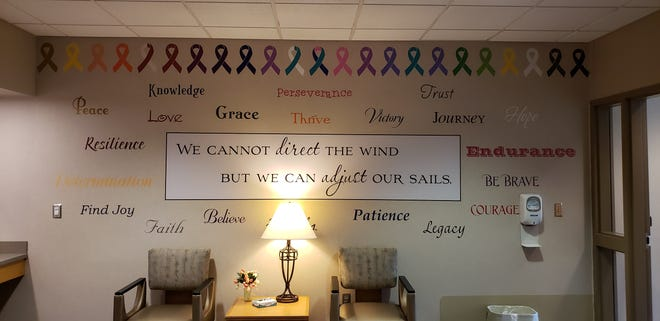 A wall of inspirational words was on display at Radiation Oncology Department at Mary Greeley Hospital in Ames.