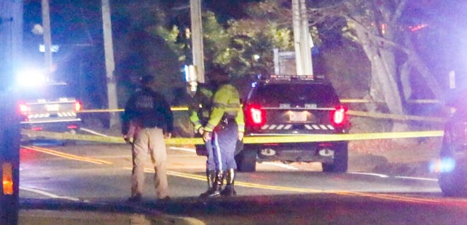 A State Police trooper was shot in Hyannis on Friday night.