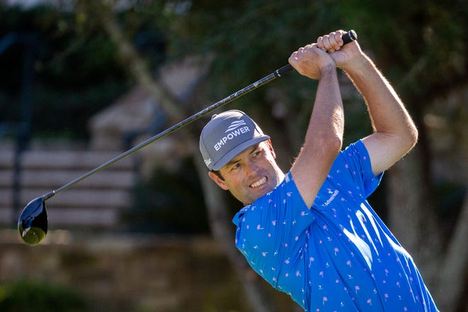 Robert Streb watches his drive down the 10th fairway during third round of the RSM Classic on Saturday