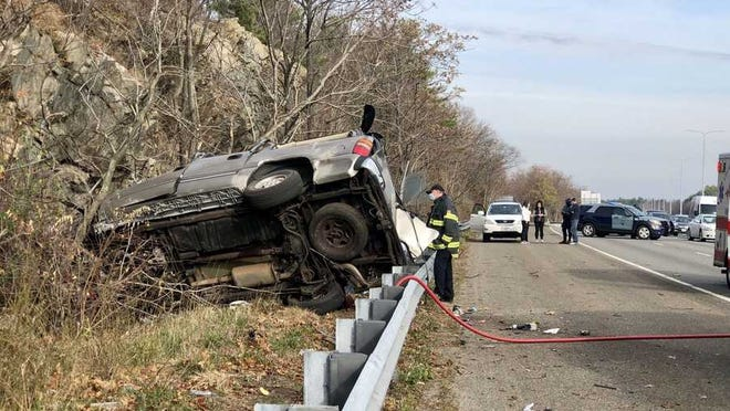 This vehicle was involved in a deadly rollover crash on Interstate 93 in Medford on Saturday, Nov. 21, 2020.