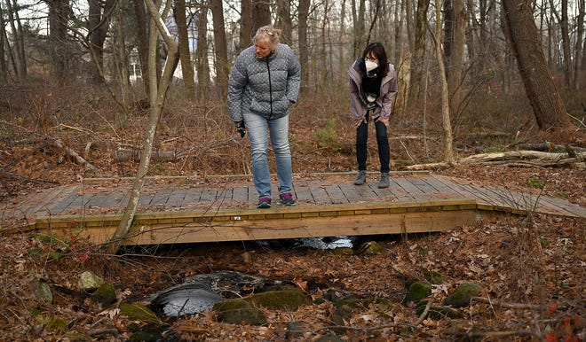 Joanne Williams, left, and Gail Hachenburg of  the Medway Trail Club look over the Poetry Bridge on the  Link Trail. The Medway Cultural Council plans to name 11 bridges along the trails in Medway.