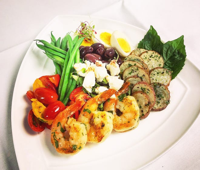 Brunch items at Restaurant 44 include seafood salad Nicoise with shrimp and lump crabmeat.