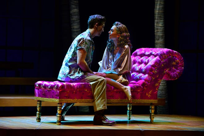 "Custom-built chaise lounge going, going, gone on the online holiday auction. Pictured are Derek Carley and Jenna Nicole Schoen in ""From Here to Eternity"" (2017) at the Ogunquit Playhouse."