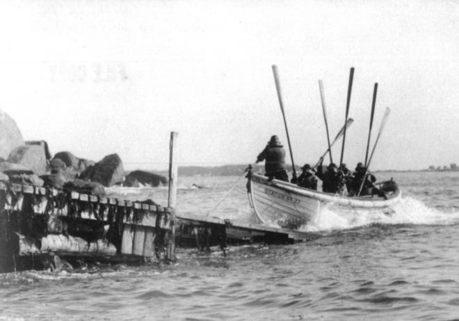 An original 1930s-era rescue boat used by the early U.S. Coast Guard, similar to one seen this photo, will be featured at a planned maritime museum at Kittery's Wood Island.