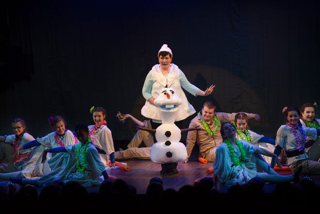 "Bid on a custom-built Olaf puppet pictured here with Ginny Crimp as Olaf and the cast of Disney's ""Frozen, JR"" (2019) at the Ogunquit Playhouse."