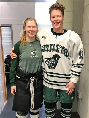 Barrington's Aimee Briand and boyfriend Nate Cory first met four years ago when they were playing hockey for Castleton University in Vermont.