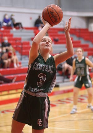 Anne Stephens of Central Catholic takes a shot during their game at Canton South on Saturday, Nov. 21, 2020.
