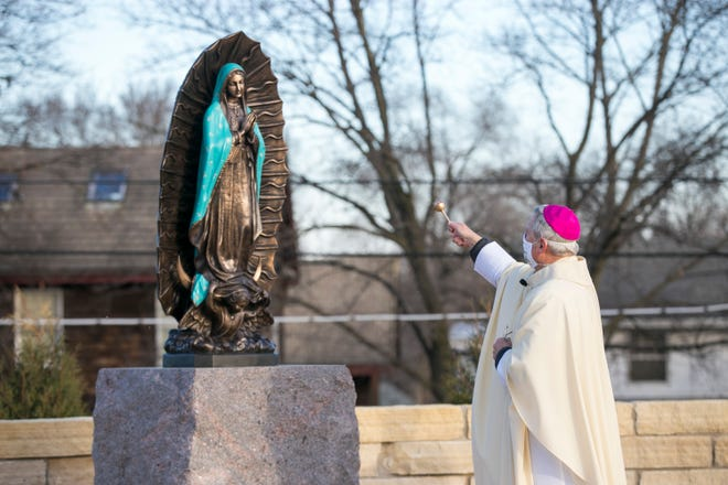 Bishop David J. Malloy of the Diocese of Rockford leads a blessing of the new prayer garden dedicated to Our Lady of Guadalupe, Patroness of the Americas at the Cathedral of St. Peter on Saturday, Nov. 21, 2020, in Rockford. The preceding Mass and the blessing are held on the feast of the Presentation of the Blessed Virgin Mary.