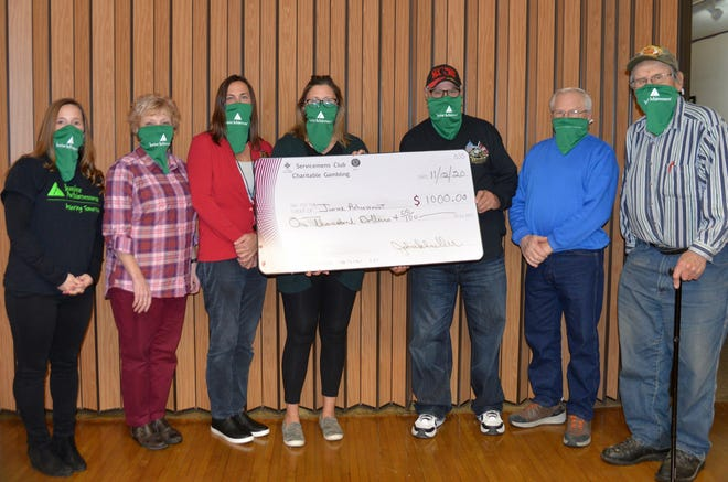 Pictured, from left: Chelsea Mason, JA Area Manager; Junior Achievement Board members—Mary Ganglehoff, Julie Anderson, and Amanda Cook and Servicemen's Club representatives—John Schueller, Jerome Bertrand, and Ralph Grundmeyer.
