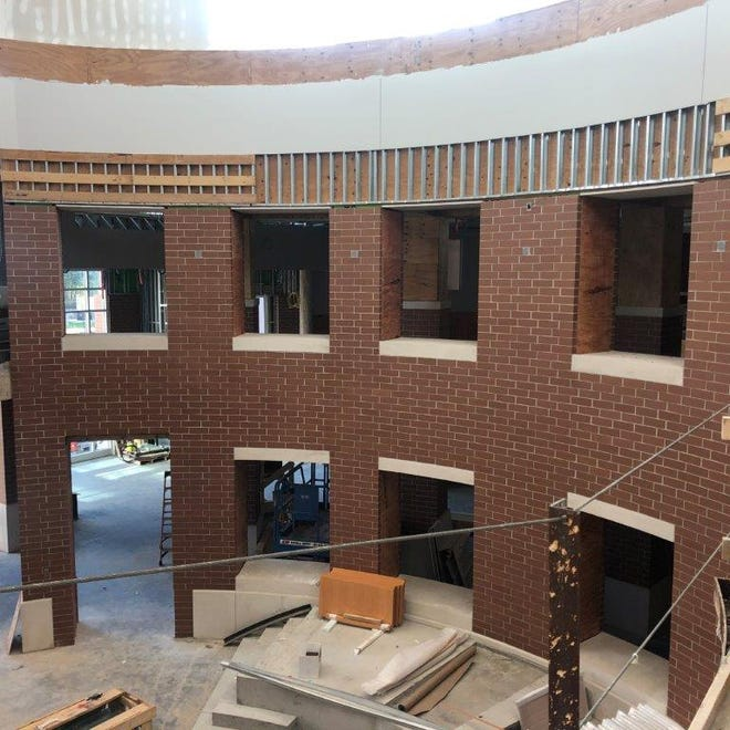 The main rotunda of the nearly-complete new Middleborough High School building is taking shape. The school will be ready for occupation in just a few more months.