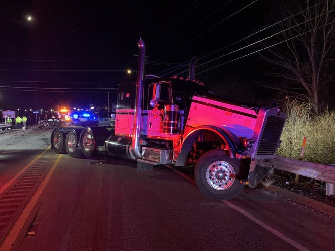 One of three vehicles involved in a serious crash on Route 20 in Auburn Thursday night.